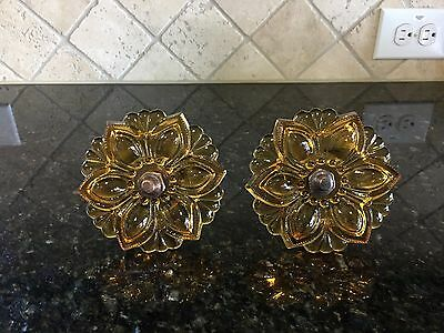 "2 lg. 4""  Amber Depression Glass Drawer Pull Knob Flower or Daisy with hardware"