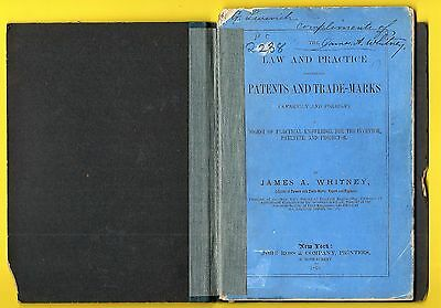 Rare 1873 Legal Pamphlet ~ Patents & Trade Marks ~ James A. Whitney ~ Signed