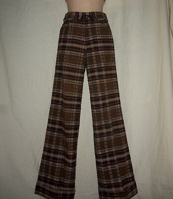 LEVI'S VTG 70s W24 Brown Plaid High Waist Bell Bottom Pants 24X30 XXS XS Disco