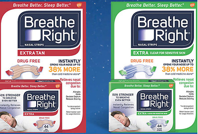 Breathe Right Extra Nasal Congestion Relief Strips, Drug Free, Sleep Aide, 44 ct