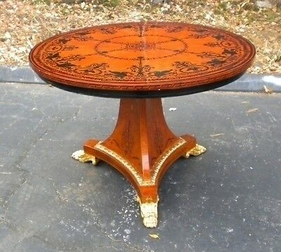 Elegant Marquetry Sheraton style Tilt Top center table
