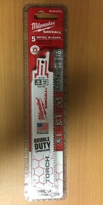 Milwaukee 48-00-5712 6 in. 10 TPI The Torch Sawzall Blade (5 Pk) NEW
