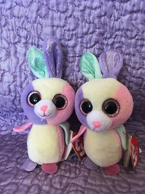 """☆ Ty Basket Beanies Set Of Two """"bloom"""" Easter Bunnies Plush With Tags ☆ 5"""" Tall"""