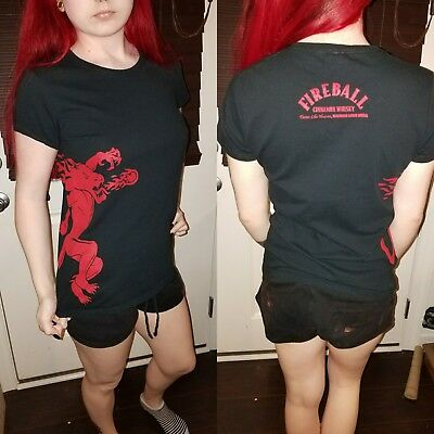 Fireball Whiskey Black Red Womens T-Shirt Medium M Bar Alcohol Gildan Cinnamon D