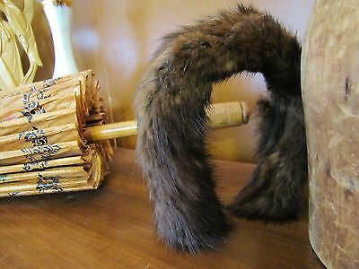 Vintage 1960s Sable Brown Rich/Luxe Natural Minkhair Fur Pin-Up Glamour Headband
