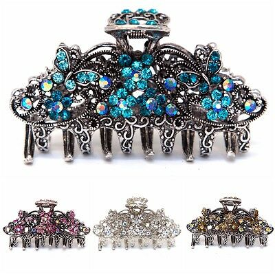 Medium antique style silver metal Butterfly Rhinestones Crystal hair claw Clip