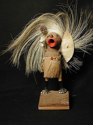 Vintage African Hand Crafted Figure of Hunter w Shield Animal Fur Skin Wood