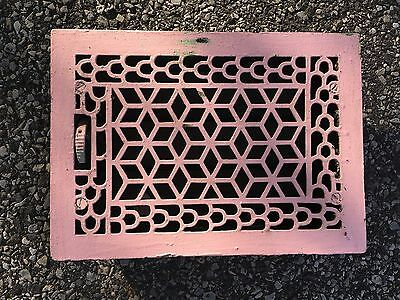"ANTIQUE LATE 1800'S CAST IRON HEATING GRATE UNIQUE ORNATE DESIGN APPOX 14"" x 10"""
