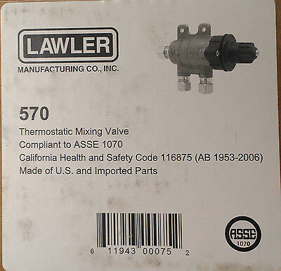"New Lawler Thermostatic Mixing Valve 3/8"" MODEL 570 008682001 UPC 611943000752"