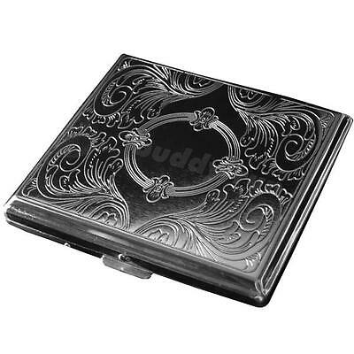 Portable Exquisite Etched Metal Cigarette Box Case Holder Holds 20 Cigarette ++