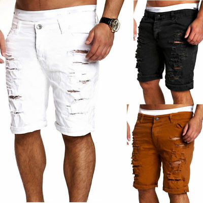 Mens Skinny Hole Shorts Straight Zipper Denim Pants Destroyed Ripped Jeans #alt