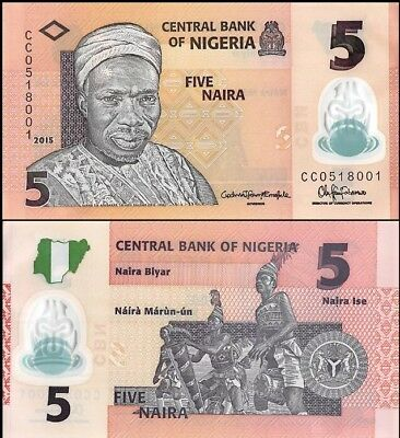 NIGERIA 🇳🇬 5 Naira Banknote, 2015, P-38f, NEW MINT UNC World Currency