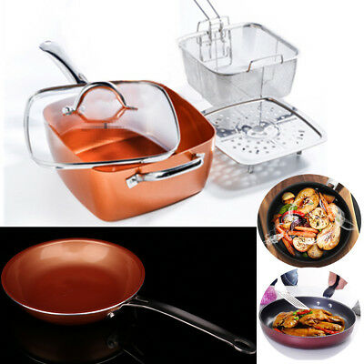 Copper Square Round Frying Pan Induction Chef Glass Lid Fry Basket Steam Rack