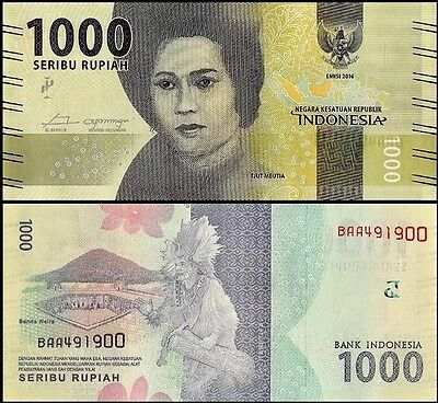 INDONESIA 🇮🇩 1,000 (1000) Rupiah Banknote, 2016, P-NEW, UNC World Currency