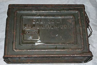 Vintage Crown U.s. Metal Ammo Box Cal .30M1 Flaming Bomb Us Wwii Ammunition Can