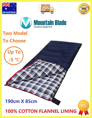 Single Outdoor Camping Sleeping Bag Hiking Tent Winter Thermal 100%COTTON LINING