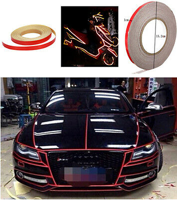 46M Red Reflective Tape Reflective Body Stripe DIY Self Adhesive for Auto Car