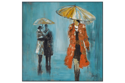 3D Oil Painting Art People Under Yellow Umbrellas Walking Different Ways Oran...