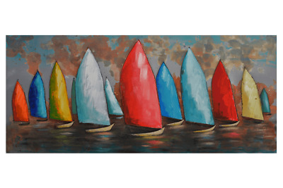 3D Oil Painting Art Eleven Colourful Sail Boats Blue and Red Sky Canvas