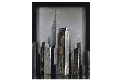 3D Oil Painting Art Tall Buildings City Canvas