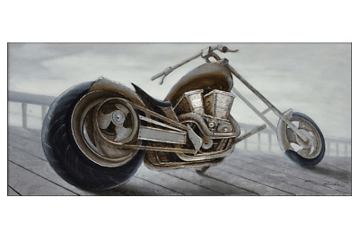 3D Oil Painting Art Chopper Motorcycle Profile Canvas Framed