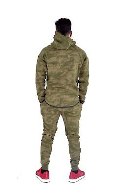 Kids Sports Military Camouflage Hododied Tracksuit 2 piece Contrast Green