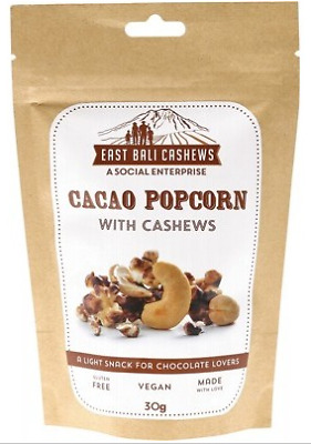 East Bali Cashews - Cacao Popcorn With Cashews 30g