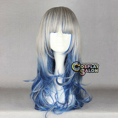 """Ombre Party 24"""" Long Grau Mixed Dunkelblau Lolita Curly Hair Girl Cosplay Wig"""