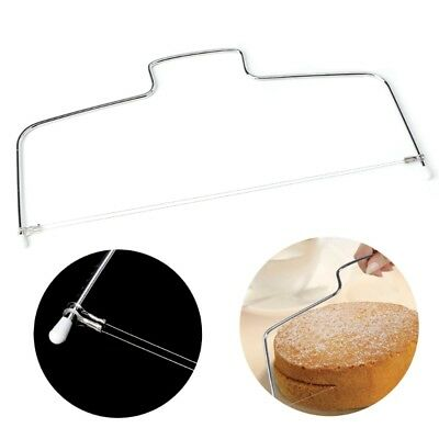 Stainless Adjustable Double Wire Cake Slicer Leveler Pizza Dough Cutter