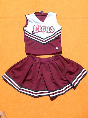 CHEERLEADER Top + Skirt Jupe Uniform Pom Pom Lions True Vintage Supply Company