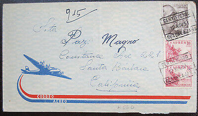 Spanish air mail envelope with 3 stamps 1951