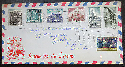 Spanish airmail envelope with 7 stamps affixed - 1970s