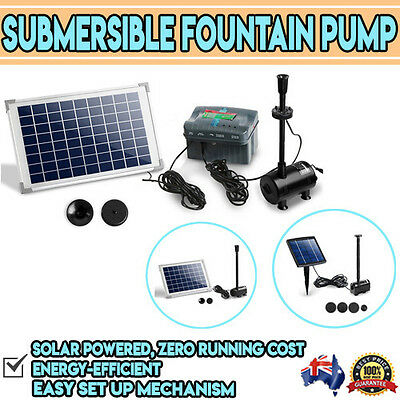 Submersible Solar Powered Fountain Water Pump  200L to 1600L/h Models Available