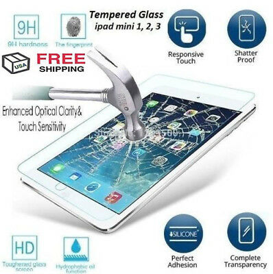 100% Genuine TEMPERED GLASS Screen Protector Cover for iPad 2 3 4 Air 2 Mini 1 2