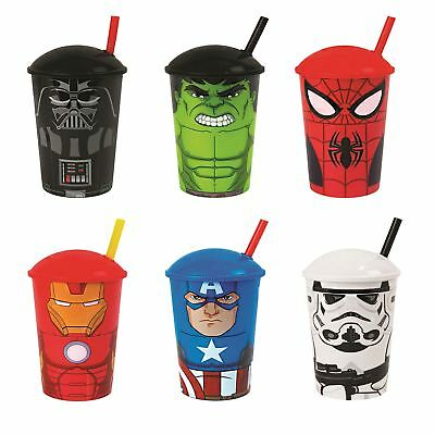 Kids Licensed Tumblers with Straws Cartoon Characters Toy Superheroes Travel Cup