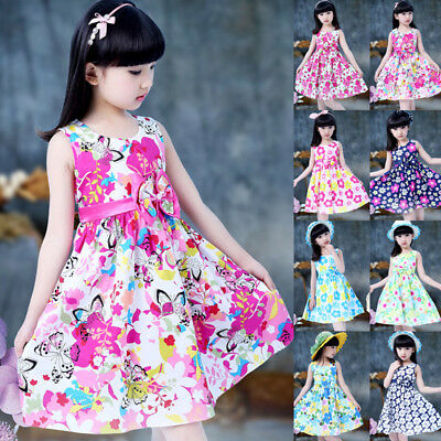 Girls Skater Dress Floral Flower Print Summer Party Sleeveless Dresses