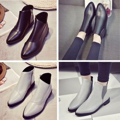 Women Pull On Zipper Leather Ankle Boots Preppy Booties Casual Pointed Toe Shoes