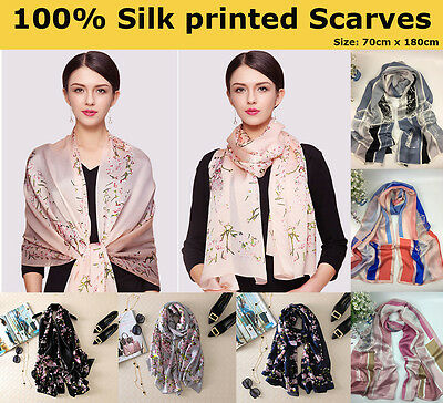 100% Pure Silk Floral Horse Printed Long Scarves Soft Scarf Wrap Shawl for Women