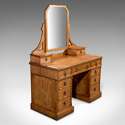 Antique Oak Gothic Dressing Table Vanity Chest Quality English Victorian c1880