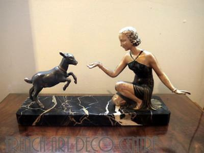 French Art Deco Spelter Group signed PERRINA c1930