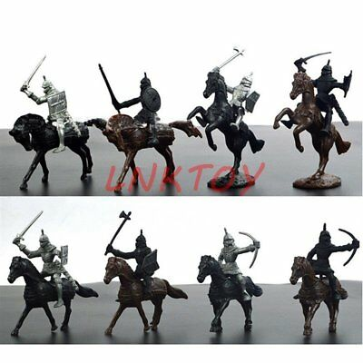 28 pcs Medieval Knights Warriors Kids Toy Soldiers Figure Models Black Silver