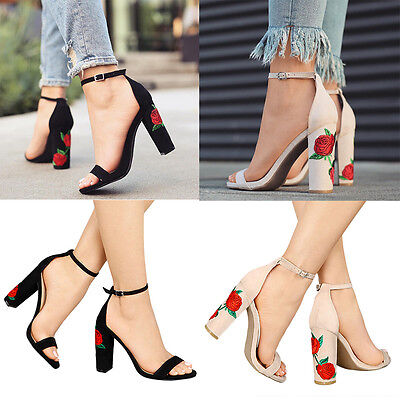 Womens Floral Block Heel Ankle Strap Sandals Ladies Peep Toe Strappy Party Shoes