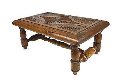 Vintage Frisian  Chip Carved Oak Foot Stool, Dutch.