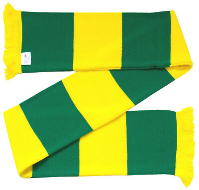 Green and Yellow Retro Bar Scarf - Norwich Colours. Made in UK