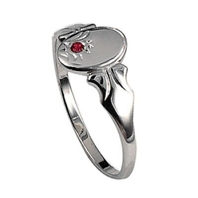 Ladies/teens/childrens Sterling Silver Oval Shaped Signet Ring With Created Ruby