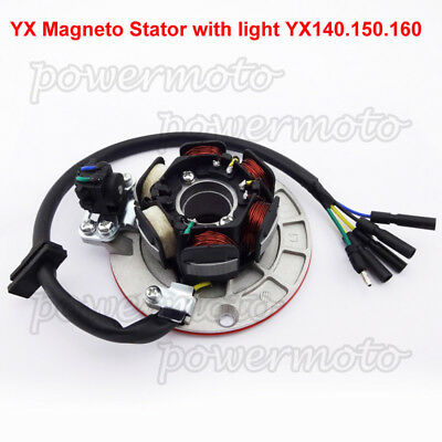 Magneto Stator W/ Light Fit YX 150cc 160cc Pit Dirt Bike YCF Pitster SSR IMR DHZ