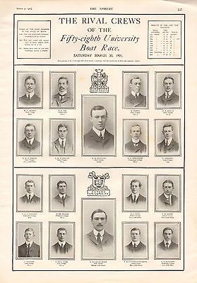 1901 Antique Print - Rival Crews Of The Fifty Eighth University Boat Race