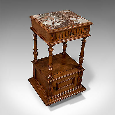Antique Quality Marble Oak French Bedside Cabinet Night Stand Pot Cupboard c1900