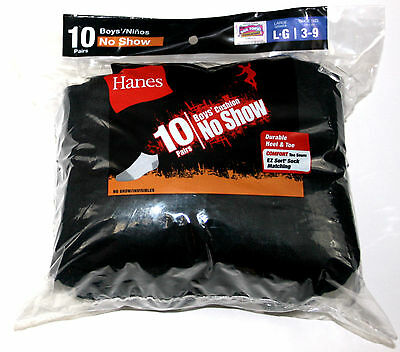 Hanes® Boys' Cushion No Show Socks 10-Pack - Black - Large - Shoe Size 3-9 - NEW