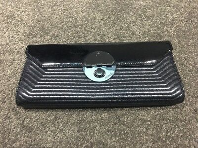 Mimco Turnlock Clutch - Black Patent/Leather